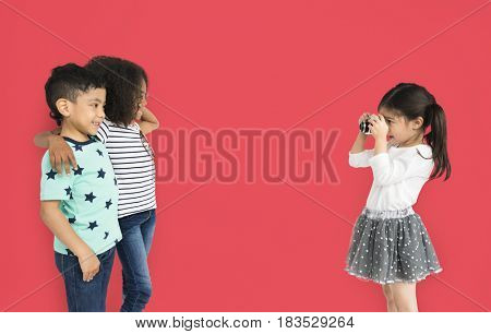 Little Children Taking Photo Concept