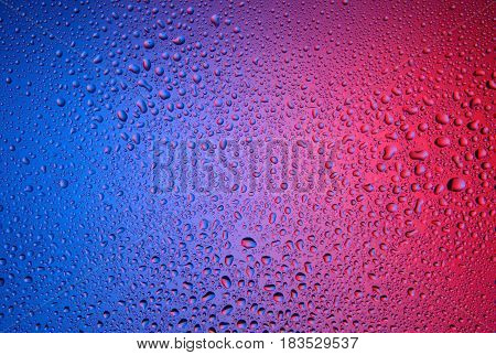 Color background. Water drops on a blue-red background.