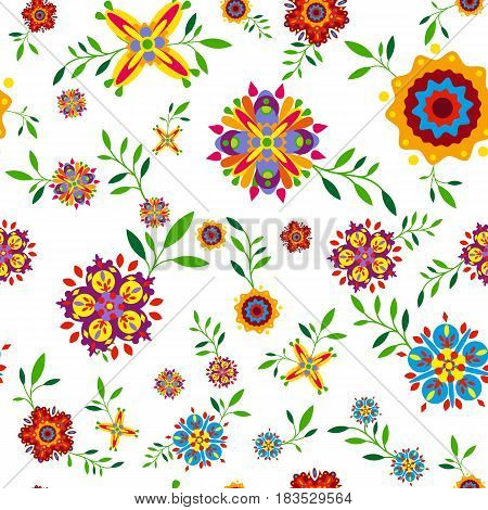 Plant seamless pattern with flowers and leaves. Vector illustration
