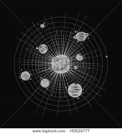 solar system in dotwork style. planets in orbit. vintage hand drawn illustration