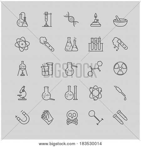 Thin line chemistry icons set for your design