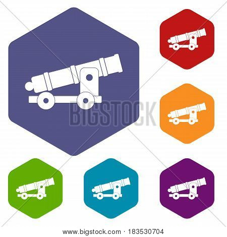 Cannon icons set hexagon isolated vector illustration