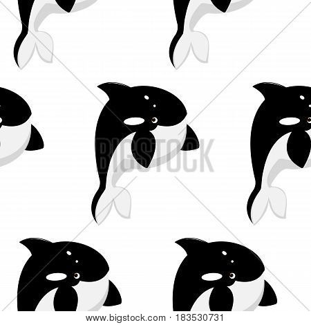 Seamless pattern with cute xertoon killer-whale. Vector flat background.