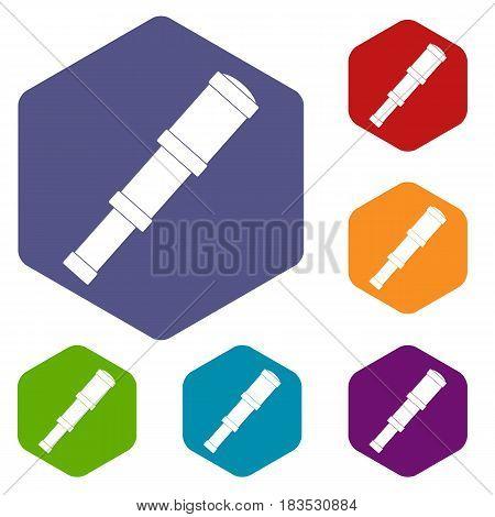 Spyglass icons set hexagon isolated vector illustration