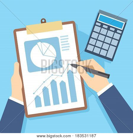 finance report Business documents and accounting vector illustration