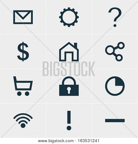 Vector Illustration Of 12 Member Icons. Editable Pack Of Minus, Padlock, Alert And Other Elements.