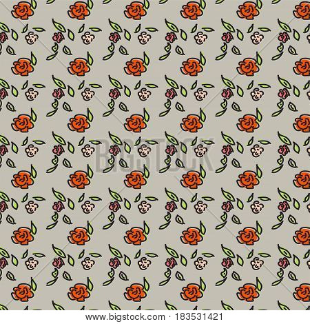 seamless beige pattern with red roses, pink and red flowers on beige background, vector colorful flowers
