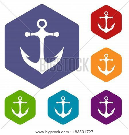 Anchor icons set hexagon isolated vector illustration