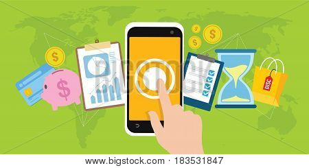 mobile banking one touch transaction with mobile phone vector illustration