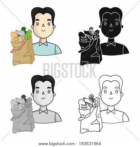 Man carrying grocery paper bag full of food icon in cartoon design isolated on white background. Supermarket symbol stock vector illustration.