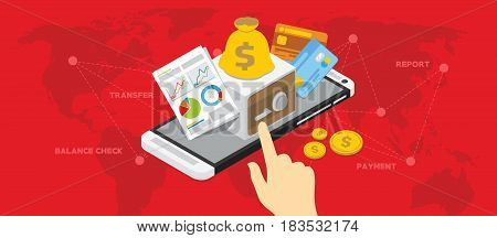 mobile banking shopping transaction with smartphone vector illustration