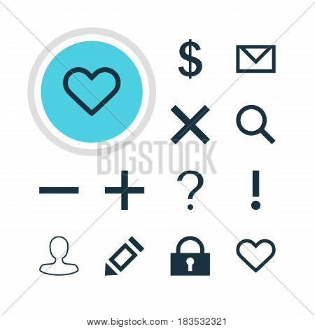 Vector Illustration Of 12 Interface Icons. Editable Pack Of Help, Money Making, Plus And Other Elements.
