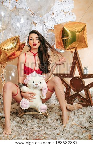 Sexy Woman In Red Lingerie With Festive Balloons, Teddy Bear