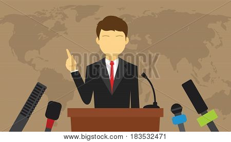 man give press conference politics speech vector illustration