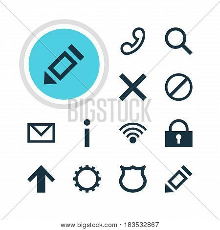 Vector Illustration Of 12 Interface Icons. Editable Pack Of Seek, Letter, Info And Other Elements.