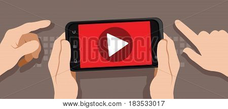 watching video with smartphone vector illustration design concept