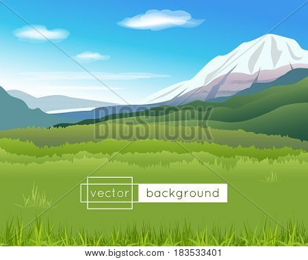 Vector landscape with mountains blue sky clouds and green grass in the sunny summer day in gradient colors for use as a template of banner backdrop poster or splash screen.