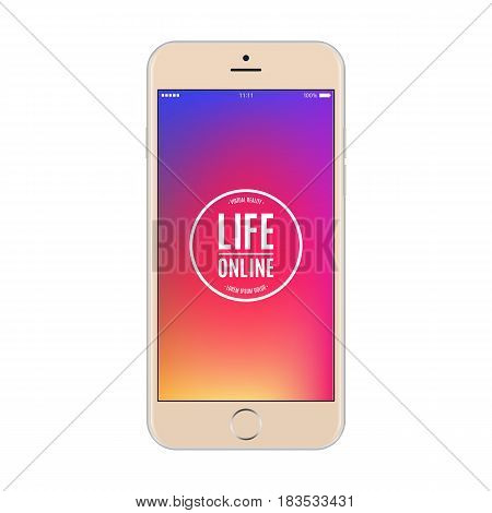 smartphone gold color with colored screen isolated on white background. stock vector illustration eps10