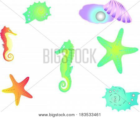 Aquatic isolated vector set with ocean animals