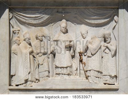 ROME, ITALY - SEPTEMBER 02: Pius IX proclaiming the Dogma of the Immaculate Conception, Column of the Immaculate Conception on Piazza Mignanelli in Rome, Italy on September 02, 2016.
