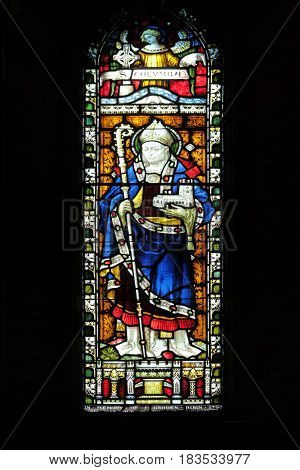 ROME, ITALY - SEPTEMBER 02: Saint Columbanus on the stained glass of All Saints' Anglican Church, Rome, Italy on September 02, 2016.