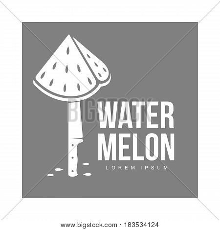 monochrome logo template with stylized triangular watermelon piece stuck on standing knife, vector illustration isolated on grey background. Watermelon logotype, logo design with watermelon piece