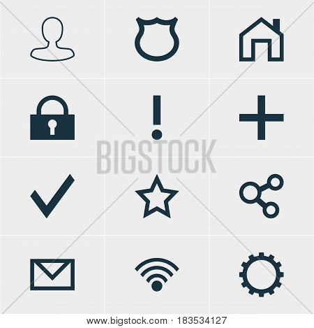 Vector Illustration Of 12 Interface Icons. Editable Pack Of Letter, Conservation, Padlock And Other Elements.