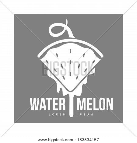 monochrome logo template with side view of stylized triangular watermelon slice pointing down, vector illustration isolated on grey background. Watermelon logotype, logo design with watermelon slice