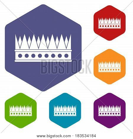 Regal crown icons set hexagon isolated vector illustration