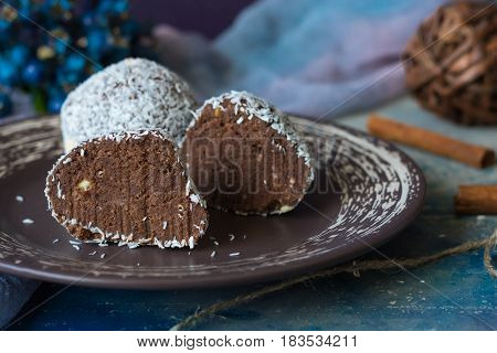 А traditional Russian chocolate cake called potato