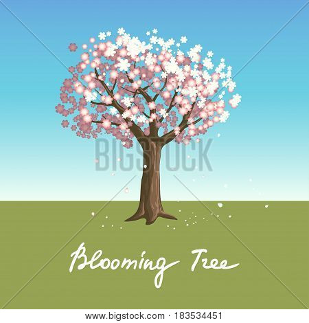 Vector illustration with isolated blooming tree blue sky green grass and handwritten text in gradient colors for use as an element of spring design.