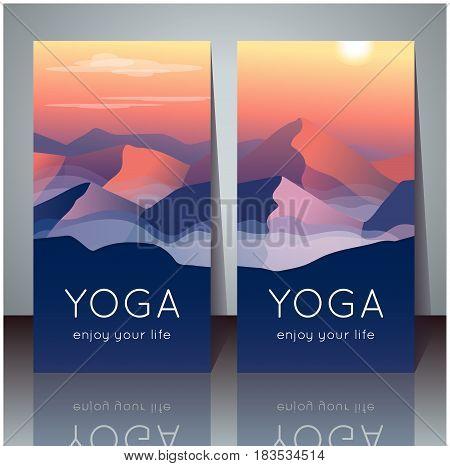 Vector yoga cards with evening mountain landscape and sample text for use as a template of banner backdrop poster invitation for yoga center studio or retreat.