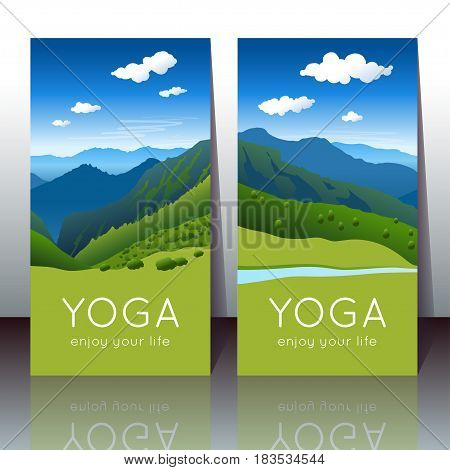Vector yoga cards with summer mountain landscape and sample text for use as a template of banner backdrop poster invitation for yoga center studio or retreat.