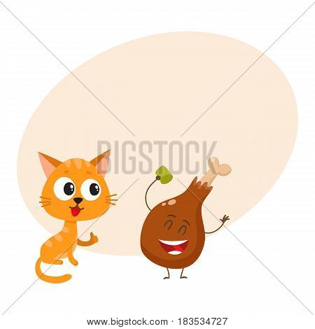 Cute and funny red cat, kitten character looking heartily at chicken stick, drumstick, cartoon vector illustration with space for text. Funny red cat, kitten character and piece of steak