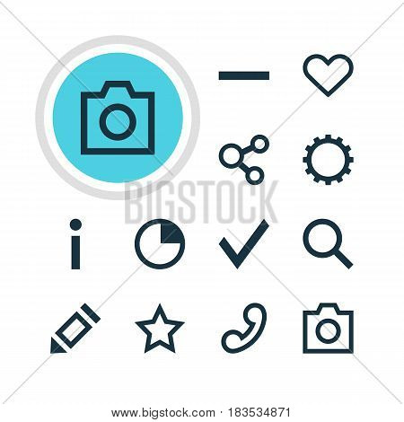 Vector Illustration Of 12 Interface Icons. Editable Pack Of Seek, Check, Info And Other Elements.