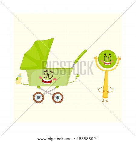 Funny baby cart, stroller, buggy and rattle toy character, newborn accessories, cartoon vector illustration isolated on white background. Baby cart, pushcart, stroller and rattle character, mascot