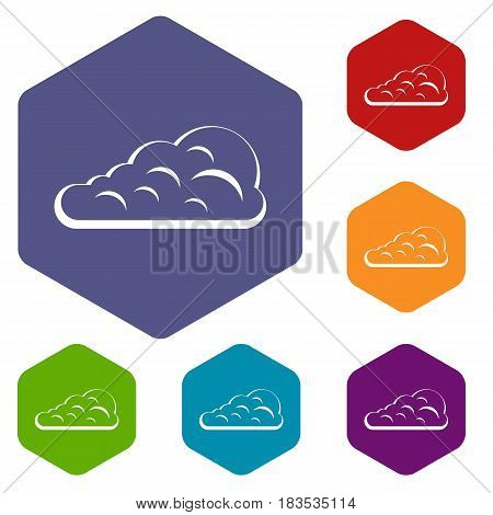 Cumulus cloud icons set hexagon isolated vector illustration