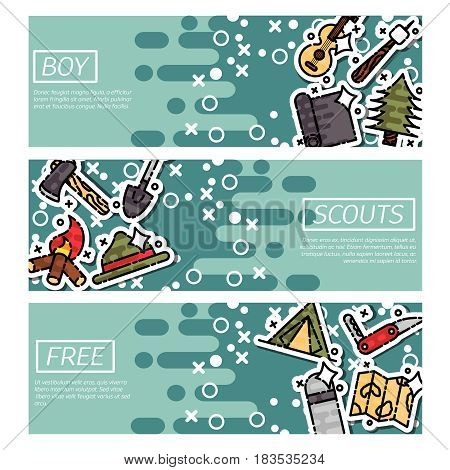 Set of Horizontal Banners about boy scouts. Vector design concept.