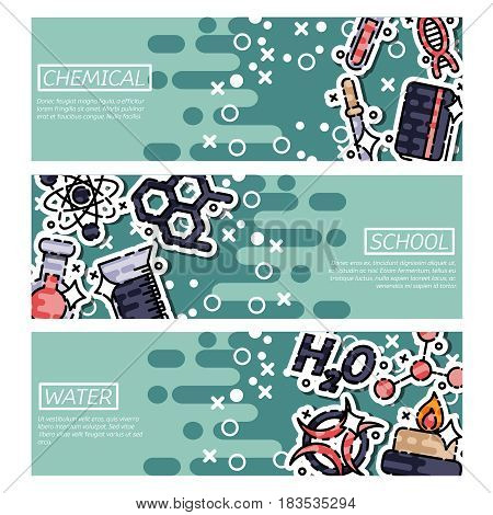 Set of Horizontal Banners about chemical. Vector design concept.