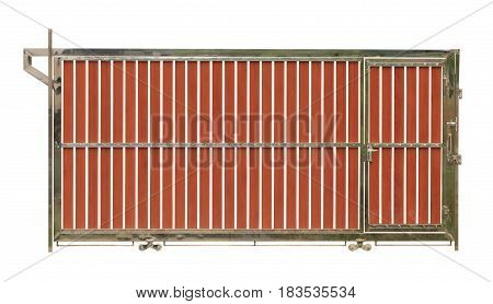 Stainless steel gate (with clipping path) isolated on white background