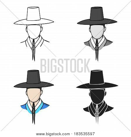 Traditional korean hat icon in cartoon style isolated on white background. South Korea symbol vector illustration.