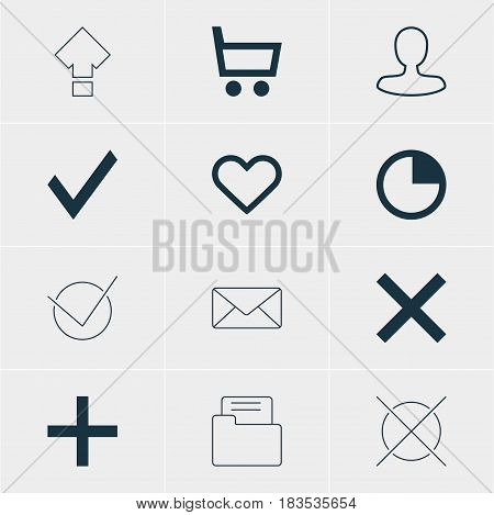 Vector Illustration Of 12 Member Icons. Editable Pack Of Confirm, Wrong, Cancel And Other Elements.
