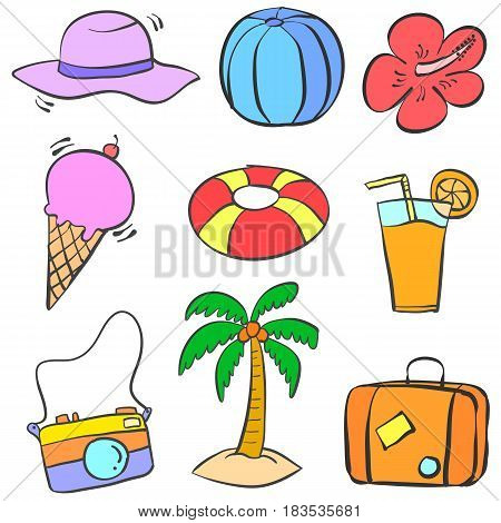 Collection stock of summer object doodles illustration
