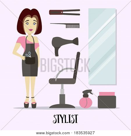 Caucasian stylist standing near armchair. Hairdresser standing at workplace in barber shop. Vector flat design illustration.