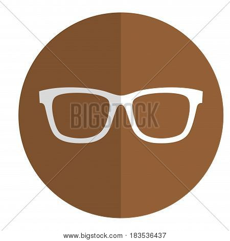 glasses accessory icon over brown circle and white background. vector illustration