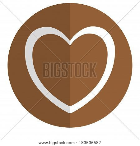 heart icon over brown circle and white background. vector illustration