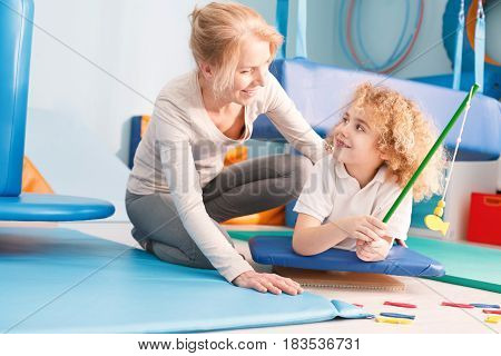 Boy Having Fun During Therapy
