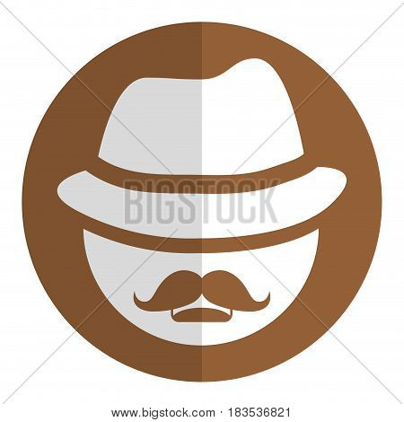 man with mustache and hat icon over brown circle and white background. vector illustration