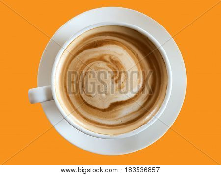Coffee cup isolated on orange background.coffee cup.