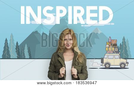 Woman with illustration of discovery journey road trip traveling